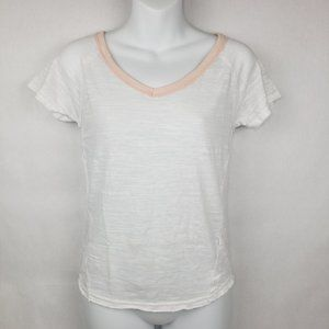 Free People White Burnout Pink Trim Top